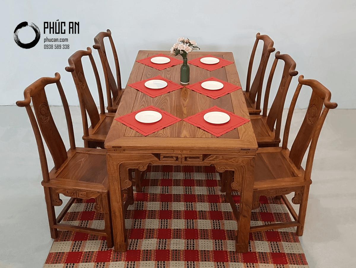 Bộ bàn ăn gỗ Hương Đá mặt vuông mẫu Hoan Hỷ 6 ghế