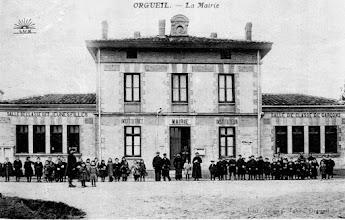 Photo: Orgueil Tarn-et-Garonne - Mairie-écoles - carte postée en 1908