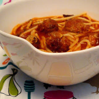 Spaghetti And Meatball Soup (with Roasted Canned Tomatoes).