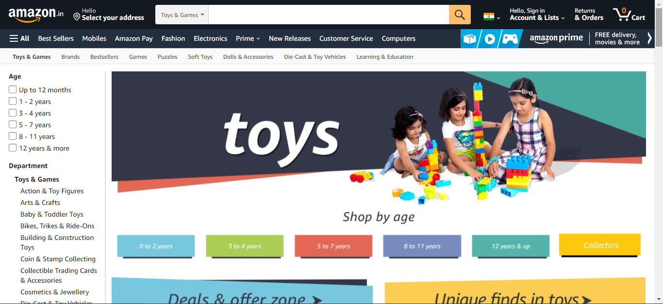 best selling toys section in amazon