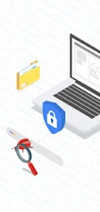 Thumbnail illustration of open laptop with locked padlock, a magnifying glass in front, and file folder to the left