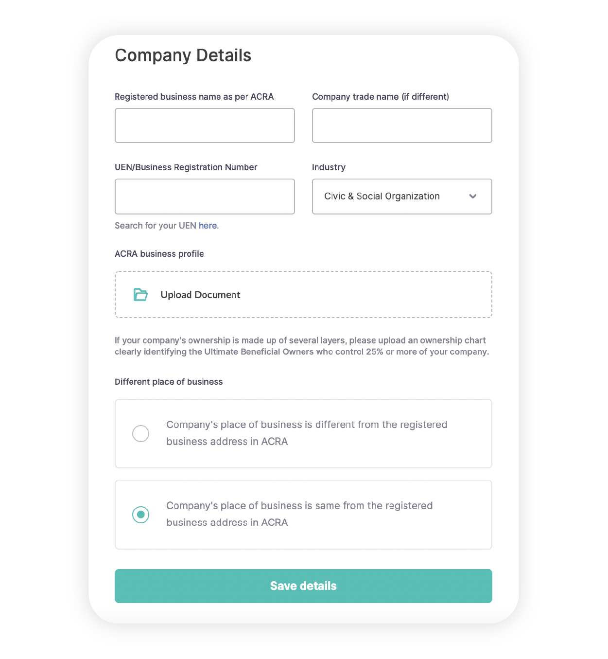 Complete your business profile