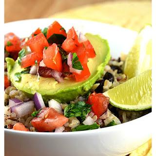 Avocado Rice Bowls with Black Beans & Tomato Salsa {Vegan}.