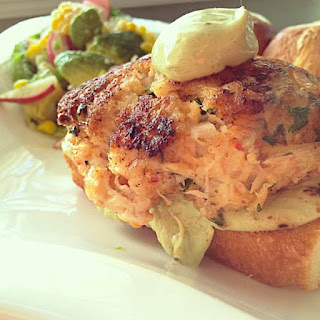 Southern Shrimp and Crabcake Burgers with Chile Avocado Sauce.