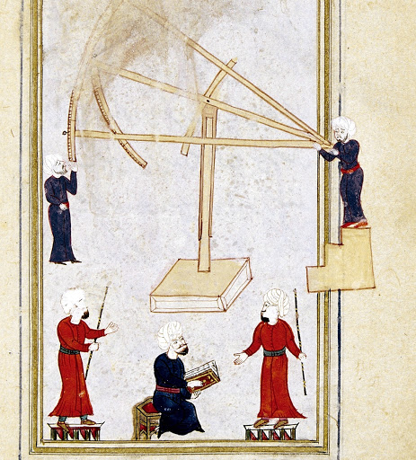 An illustration depicts Taqi al-Din's sextant in his observatory in Istanbul