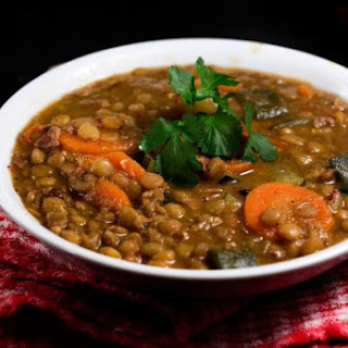 Spicy Green Lentils with Bacon and Vegetables