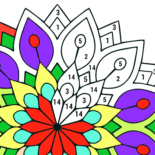 Adult Color by Number Book - Paint Mandala Pages Icon