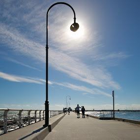 Saint Kilda Pier by Edwin Ng - Public Holidays Other ( australian, melbourne, summer sky, kilda, jetty, beach, saint, dock, st kilda, wooden, sea sky, wooden dock, australia, pier, summer, victoria, lamp post )