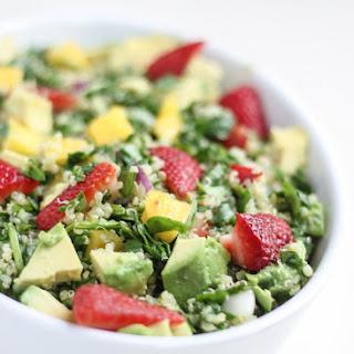 Strawberry & Mango Chopped Spinach Quinoa Salad with Sesame-Lime Vinaigrette