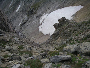 Photo: The descent gully is very steep and very loose, but with caution it is relatively easy.