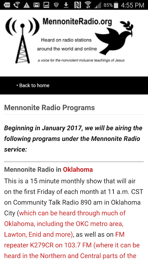 Mennonite Radio- screenshot
