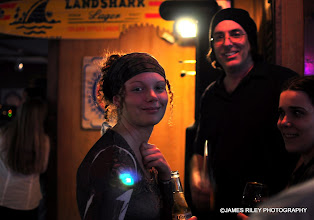 Photo: Sara, Matthew and a friend in the bar room.