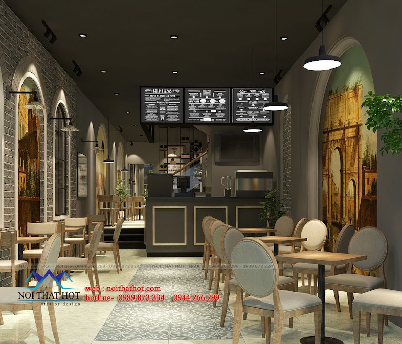 thiết kế quán cafe lịch sự