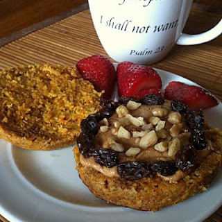 Microwaved Healthy Carrot Cake English Muffin.