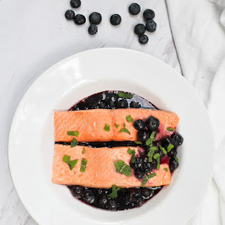 Poached Salmon with Blueberry Sauce.