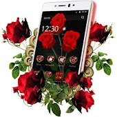 red rose flower keyboard theme
