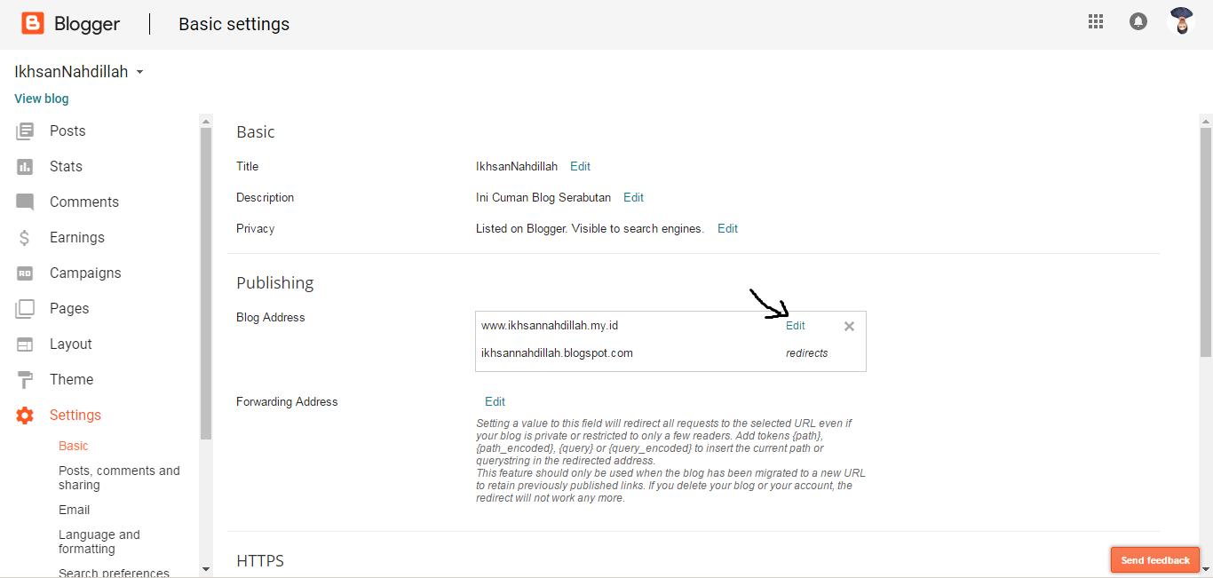 edit setting custom domain blogspot
