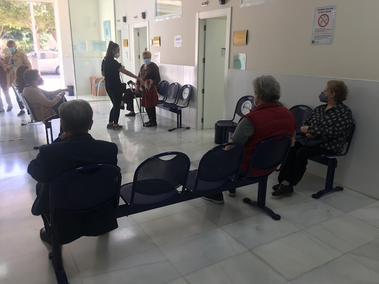 Zona de espera tras la vacunación.