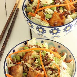 Sesame Tofu Salad With Red Quinoa.
