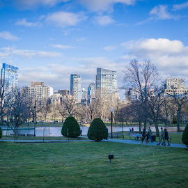 Boston Skyline by Justin Hyder - Buildings & Architecture Public & Historical ( boston, usa, city, financial, panoramic, back, tourism, american, office, skyline, commons, america, view, common, modern, public, massachusetts, cityscape, bay, landmark, park, tower, sightseeing, green, downtown, skyscraper, afternoon, blue, urban, buildings, garden, travel, colorful )