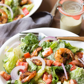 Paleo Caesar Salad with Cajun Shrimp.