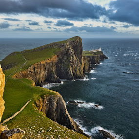 Neist Point by Peter Luxem - Landscapes Waterscapes ( scotland, skye, neist point, sunset, lighthouse, sea, foreground, isle of skye )