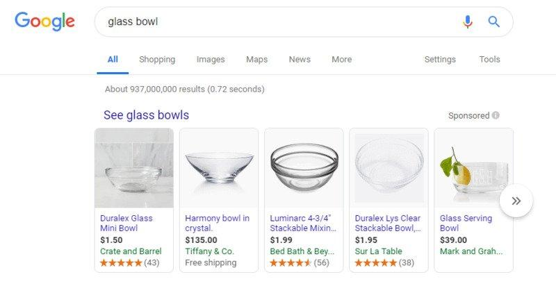 Glass bowl - Google Shopping SERP results