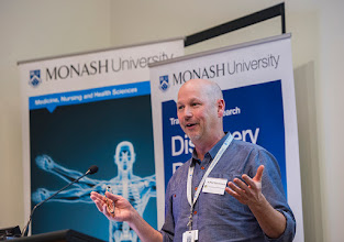 Photo: A/Prof David Curtis describes sickle cell anaemia research. http://www.med.monash.edu.au/cecs/events/2015-tr-symposium.html