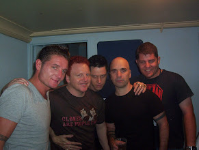 Photo: Andy and Michael from Pure Bunk (centre) with Douglas (left) and Bon (right) from Nitzer Ebb, and Dennis from TransCom at far right.
