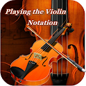 playing the violin notation icon