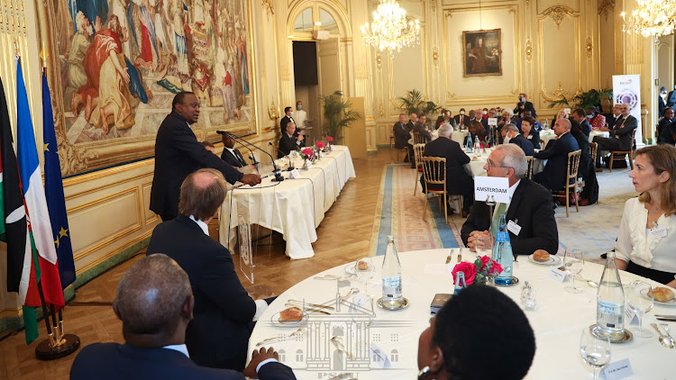 resident Kenyatta spoke Friday in Paris during a France-Kenya business forum hosted by MEDEF on October 2, 2020.