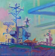 "Photo: ""USS Hornet"", acrylic on canvas 8"" x 8"", © Nancy Roberts"