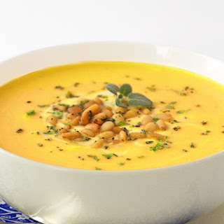 Butternut Bisque with Brown Butter-Sage Pine Nuts