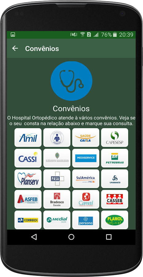 Hospital Ortopédico: captura de tela