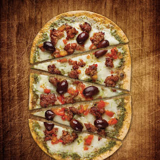 Sausage and Pesto Flatbread Pizza.