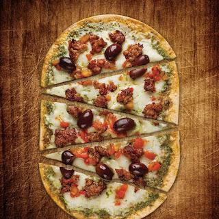 Sausage and Pesto Flatbread Pizza.