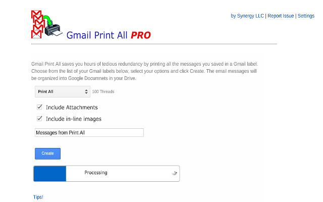 gmail print all pro chrome web store