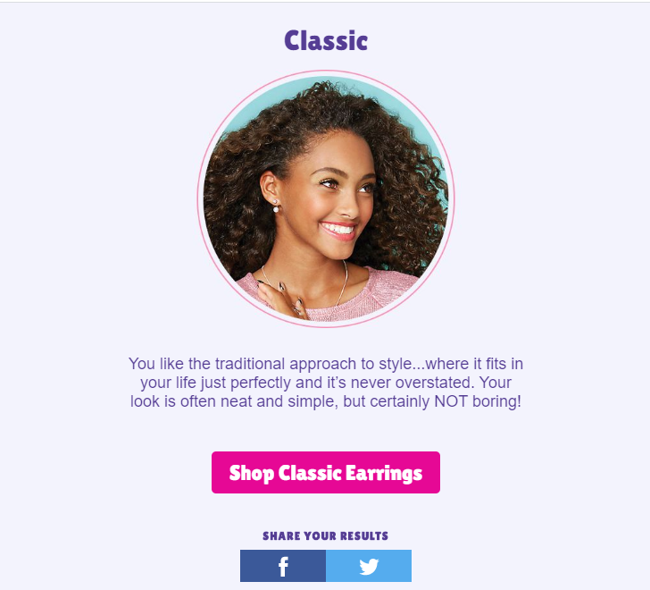 Classic earring quiz result