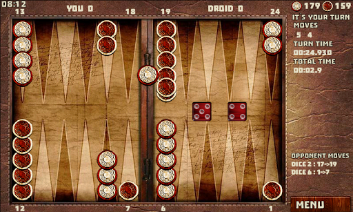 Backgammon Game with 16 games