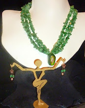 Photo: <BEREHYNYA> {Great Goddess Protectress} unique one-of-a-kind statement jewellery by Luba Bilash ART & ADORNMENT  INNOCENCE - НЕВИННІСТЬ - copper enamel pendant, aventurine, rose gold vermеil hook clasp/beads/French wire earrings *Silent Auction donation