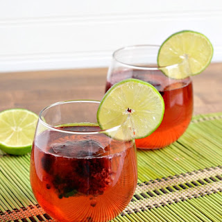 Blackcurrent Lime Sparkling Water with Blackberry Lime Ice Cubes