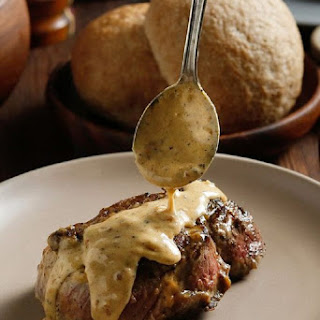 Filet Mignon with Mustard Cream and Wild Mushrooms.