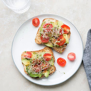 Hummus Tartine with Sprouts.