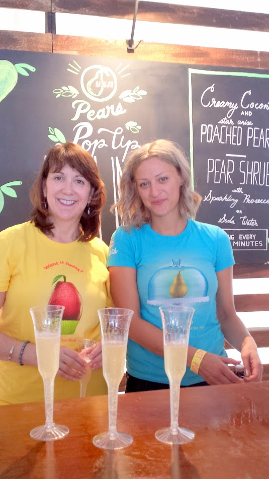 Brunch Village at Feast 2015, USA Pears, one of the participating sponsors, really brought their A game with their Creamy Coconut and Star Anise Poached Pears and a Pear Shrub wtih Sparkling Prosecco or Soda Water