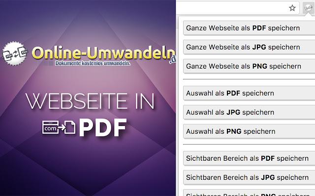Save website as PDF, JPG, PNG