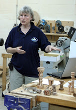 Photo: Barbara showed us some multi-axis turning design considerations.
