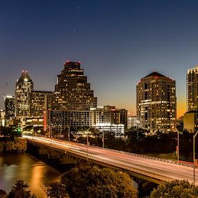 Good Morning Austin by John Chitty - City,  Street & Park  Skylines ( austin, texas, sunrise, cityscape, bridges )