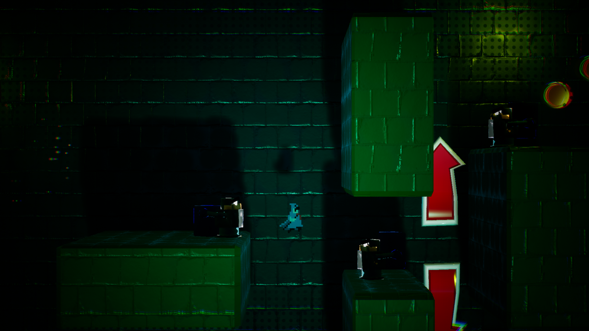 Pole Man in a cavern with green brick walls
