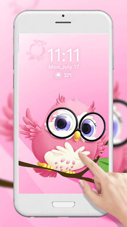 Pink Anime Cute Owl 3d Live Lock Screen Wallpapers