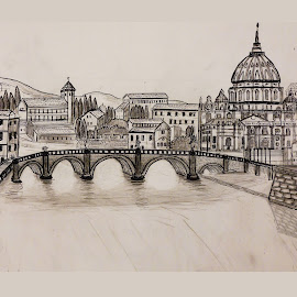 ROME BRIDGE ST PETERS by Gerry Slabaugh - Drawing All Drawing ( roma, st peters, rome, rome drawing, bridge, rome roman )